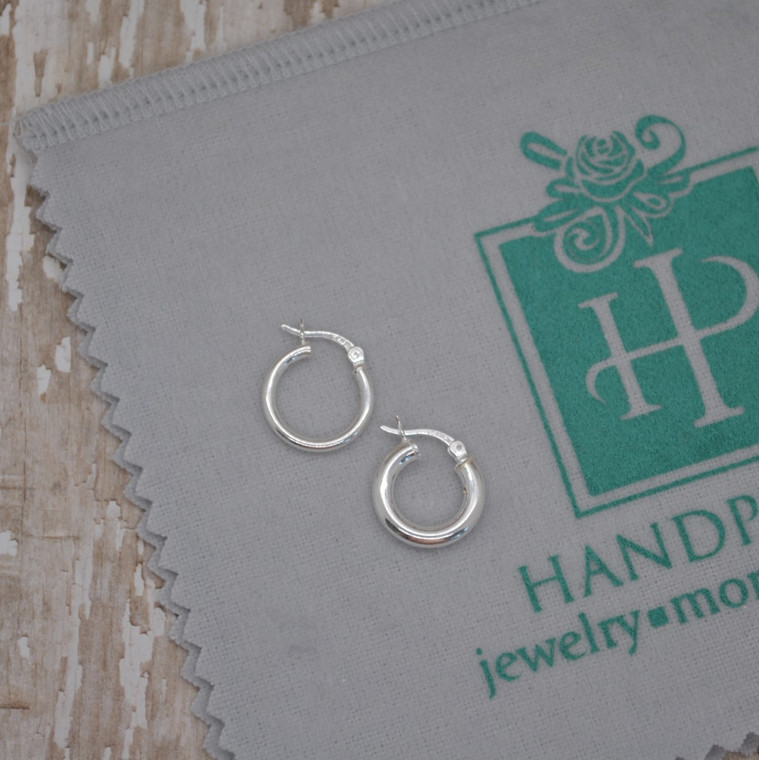 15mm x 2mm - Classic Sterling Silver Tube Hoop Earring with Clip