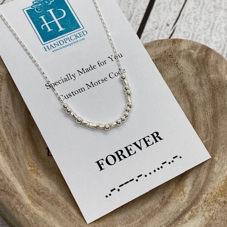 """""""Forever"""" Custom Sterling Silver Morse Code Necklace - HP Exclusive Design"""