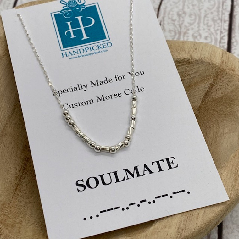 """""""Soulmate"""" Custom Sterling Silver Morse Code Necklace - HP Exclusive Design"""