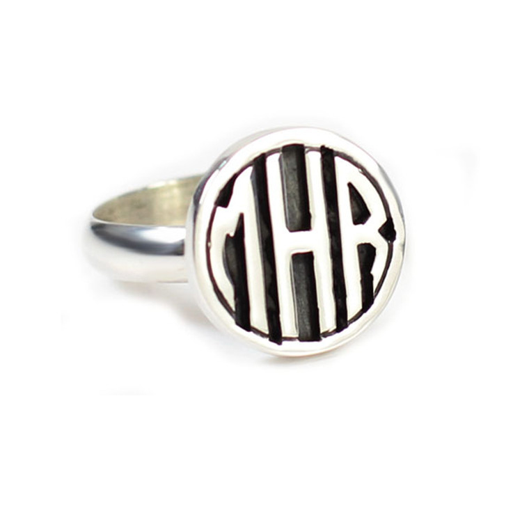 HP Exclusive Sterling Block Personalized Round Ring   HandPicked