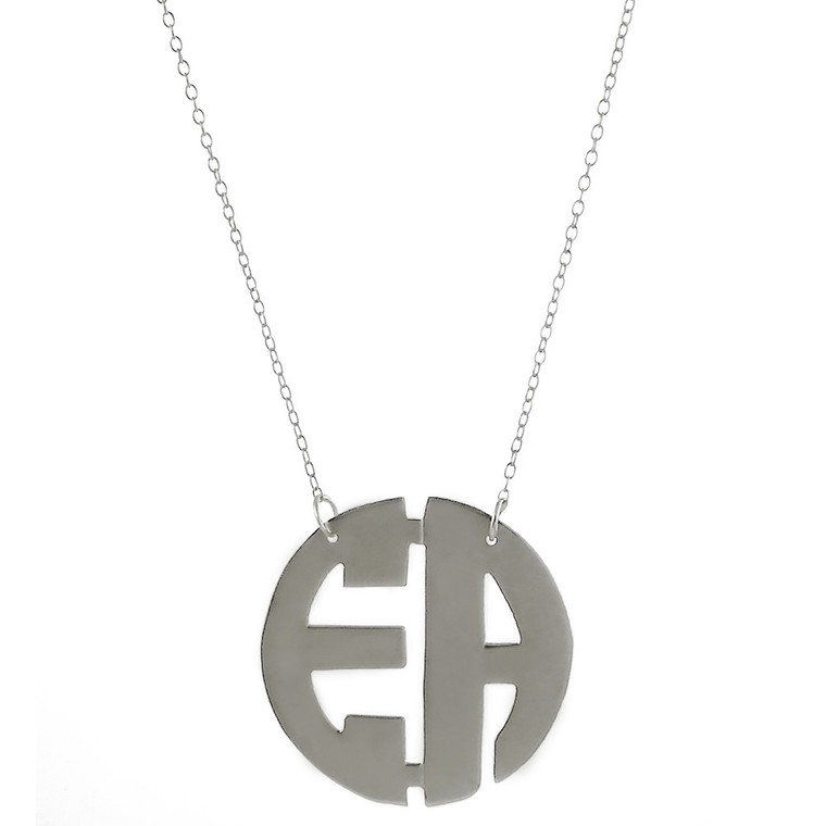 Two Initial Custom Monogram Cutout Necklace   HandPicked Jewelry