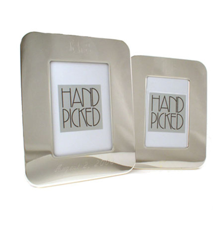 """Top Selling - Monogram 5""""x7"""" Rounded Corner Frame - Silver Plated"""