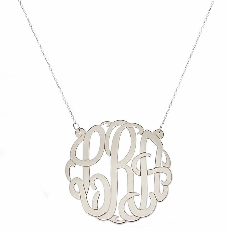 Large Silver Script Monogram Cutout Pendant Necklace