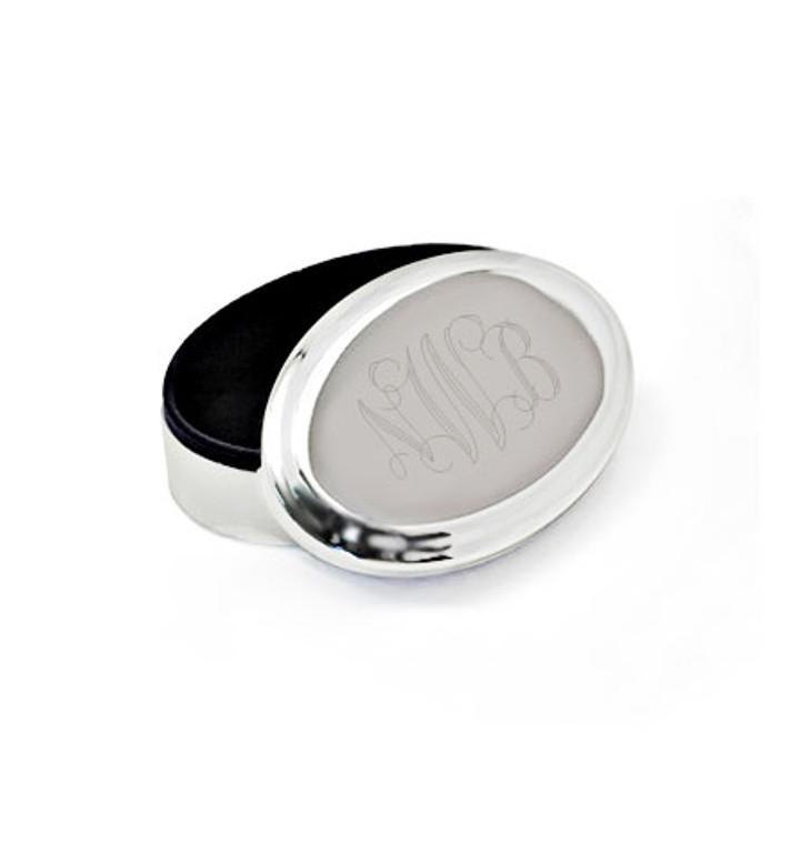 "Classic Oval Monogram Trinket & Ring Keepsake Box, Silver Plated 4.5""X3"""