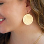 "Monogram Earrings -  Customer Favorite Fashion Gold 1.5"" Discs"