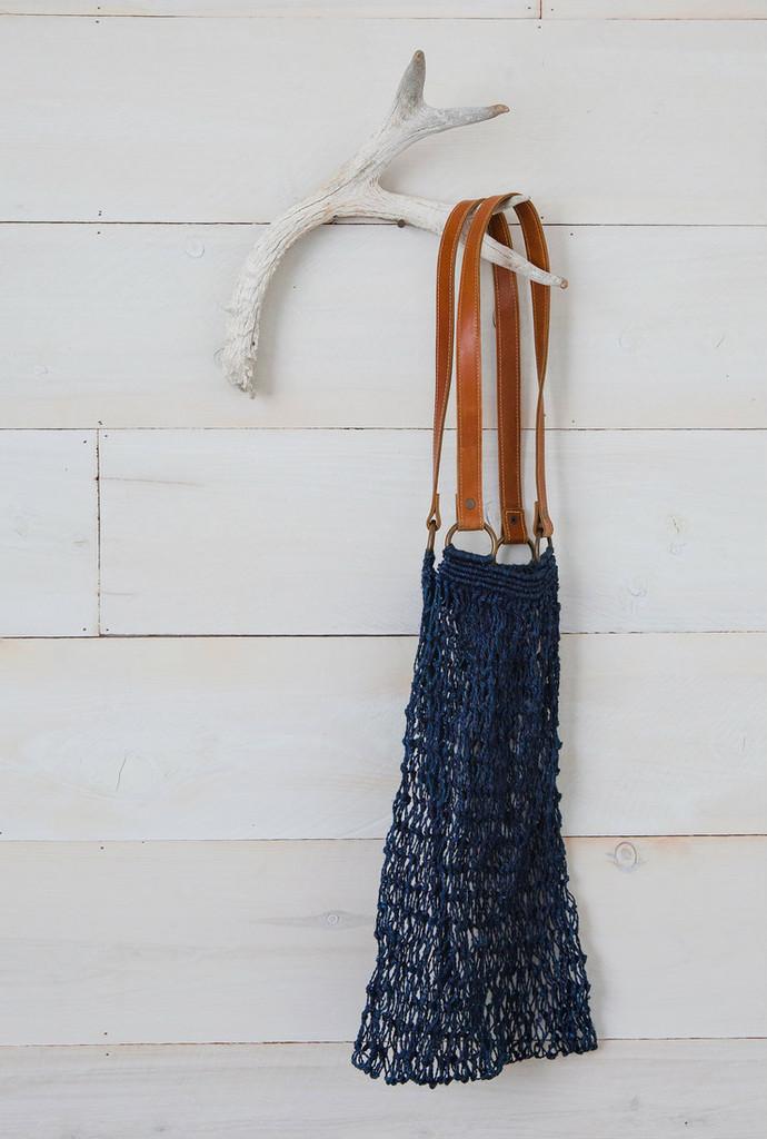 Jute String bag indigo & brown