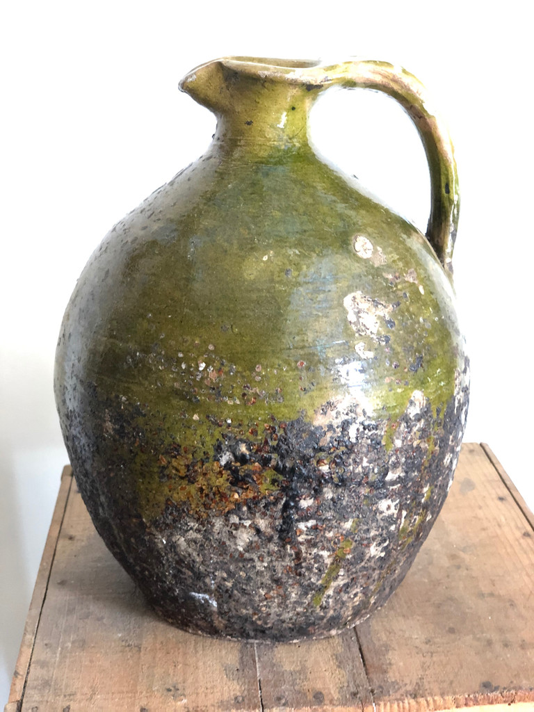 Vintage French Pottery - Green Jug