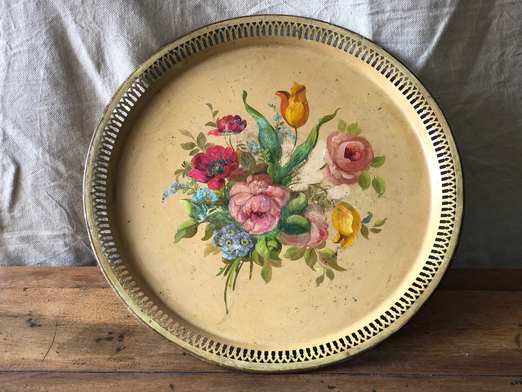 Vintage French Painted Toleware Tray - Floral