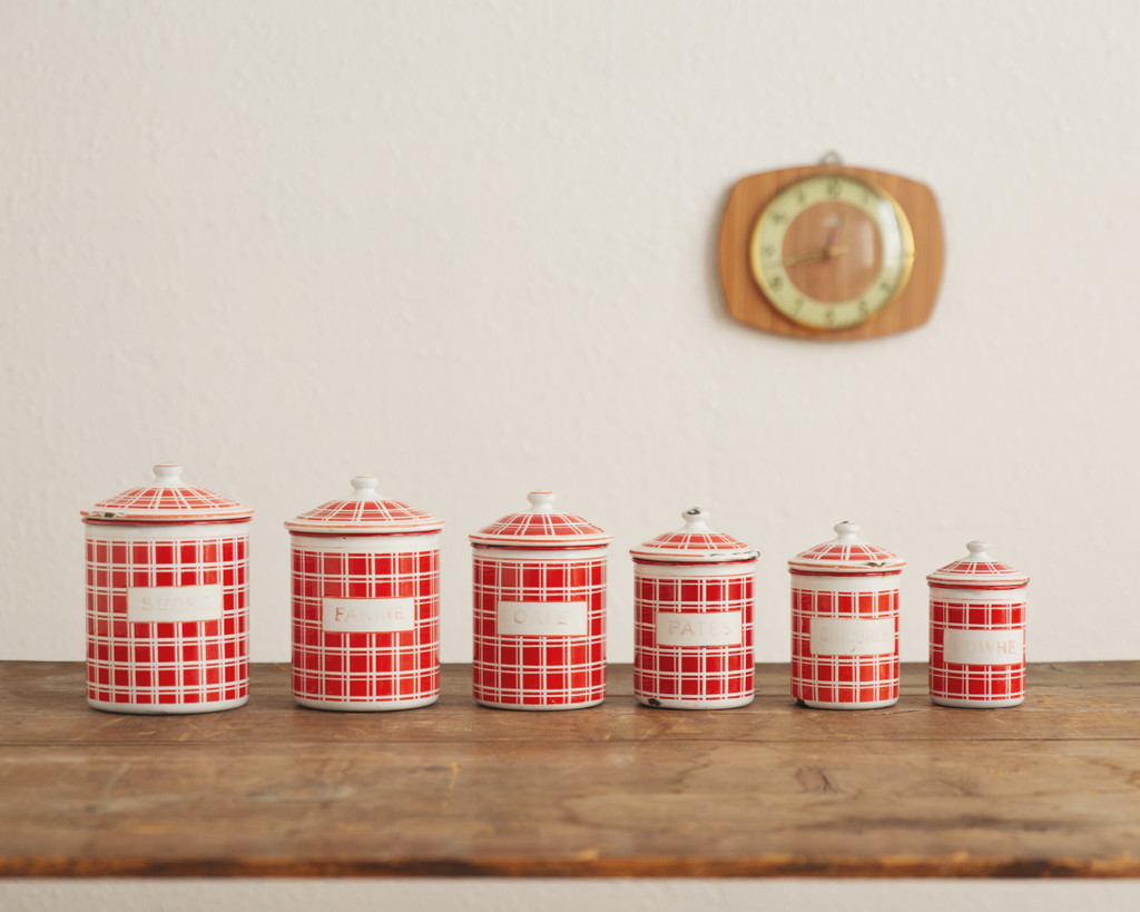 Vintage French Enamelware - Cannister Set of 6 - Red Plaid