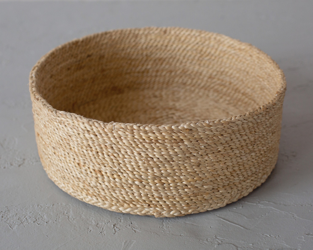 Large Trio of Round Jute Baskets - Natural
