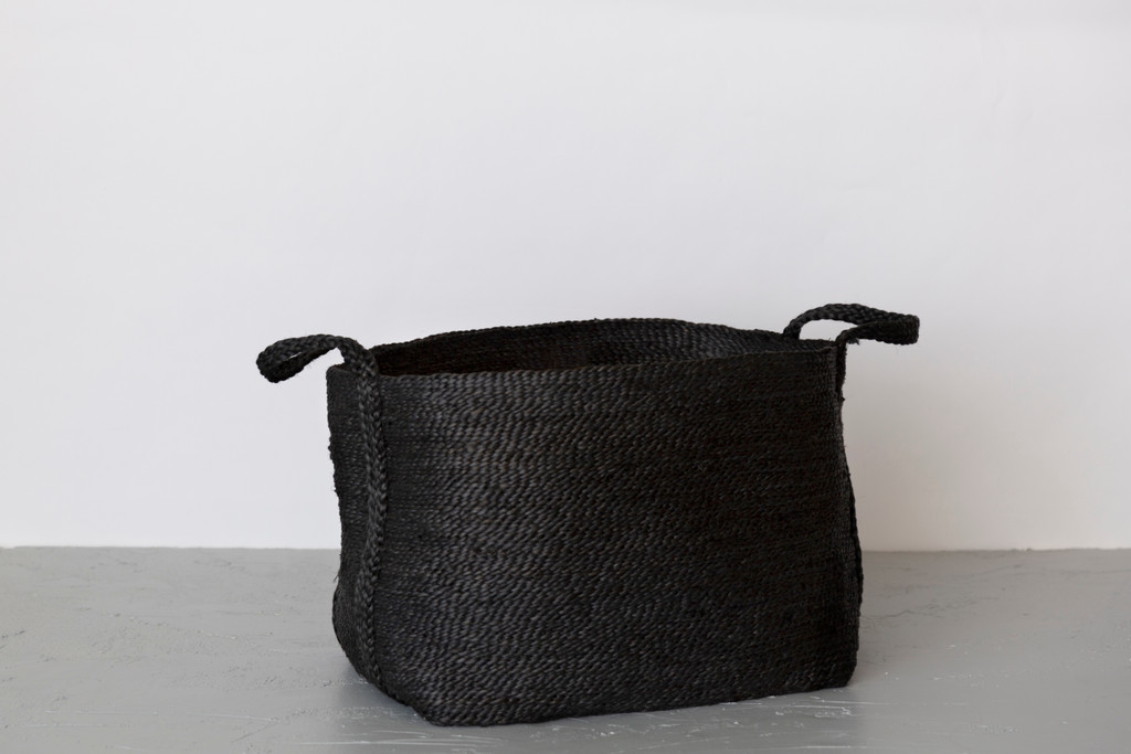 Large Jute Basket - Charcoal wide