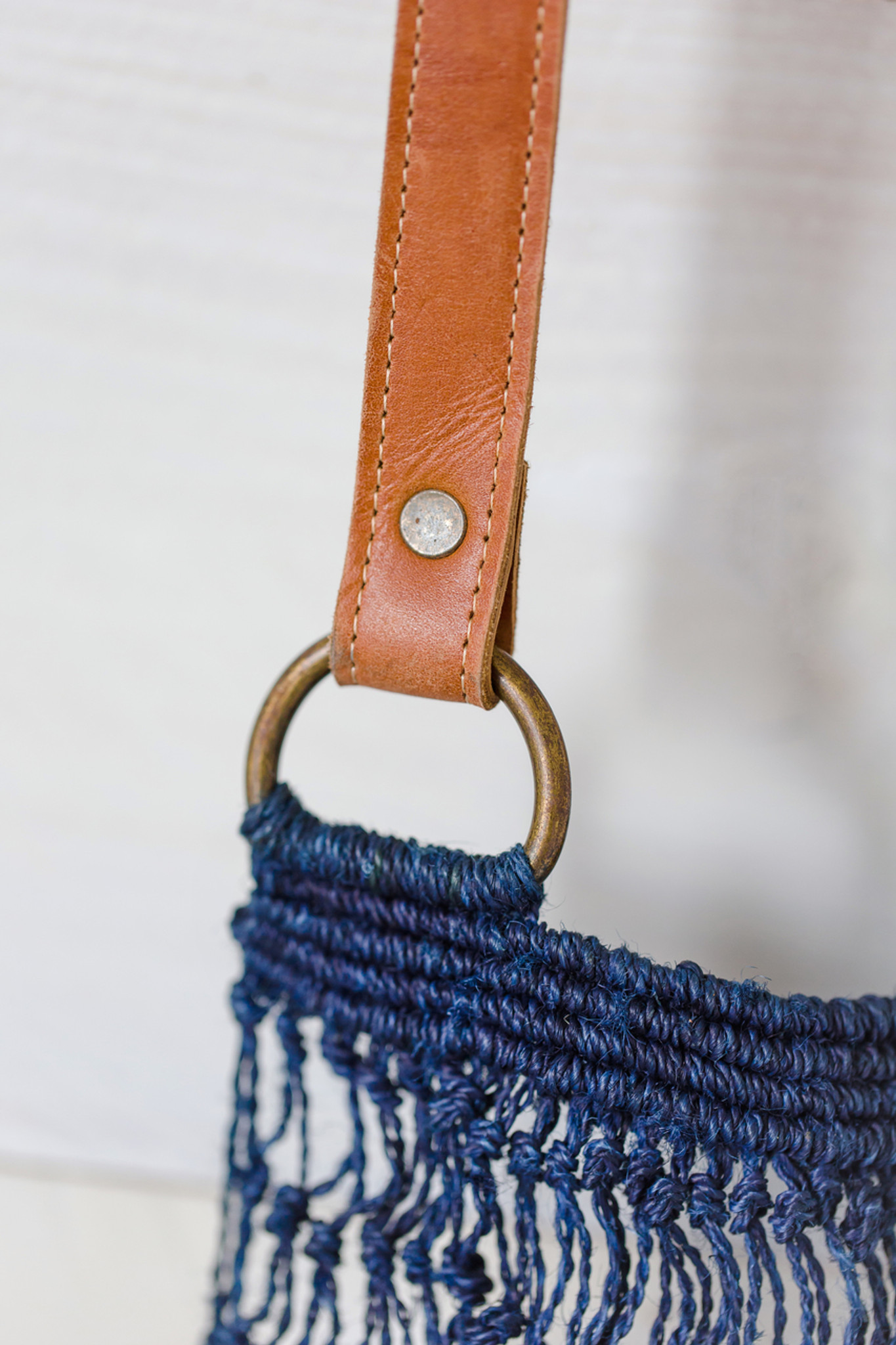 Jute String Bag - Indigo with Brown Leather Handle