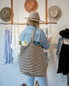 Paris Striped Tote - Black & White