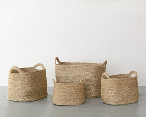 Oval Baskets Natural Set 2