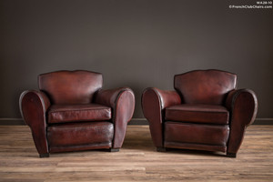 French Club Chairs - La Bastille Mustache Pair