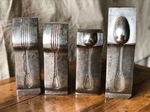 Vintage French Utensil Dies Silver Molds - Fork & Spoon