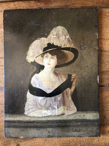 Vintage French Painting - Victorian Woman