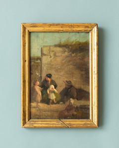 Vintage French Painting - Family in Baroque Village