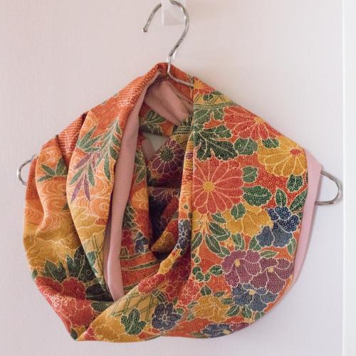 Upcycled Vintage Silk Kimono Panel Infinity Scarf | Handmade in Australia - Mochi La Vie