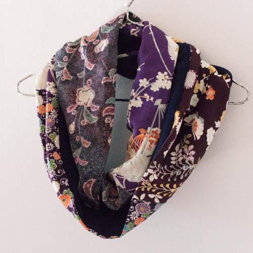 Upcycled Vintage Silk Kimono Remnant Medley Patchwork Infinity Scarf | Handmade in Australia - Mochi La Vie