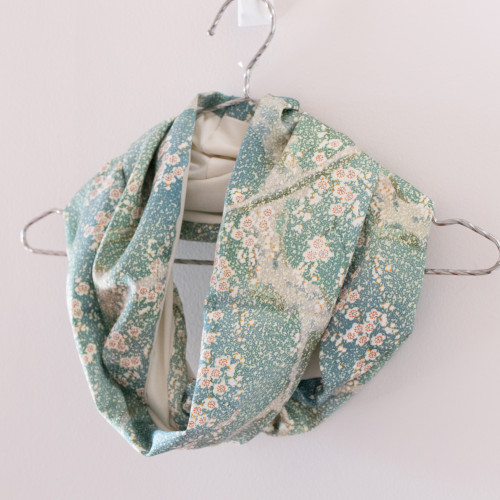Upcycled Vintage Silk Kimono Half Panel Infinity Scarf | Handmade in Australia - Mochi La Vie