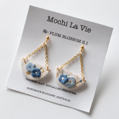 UME 2.1 Abstract Plum Blossom Polymer Clay Cute Fun Pop Stainless Steel Drop Earring - Handmade in Sydney Australia   Mochi La Vie
