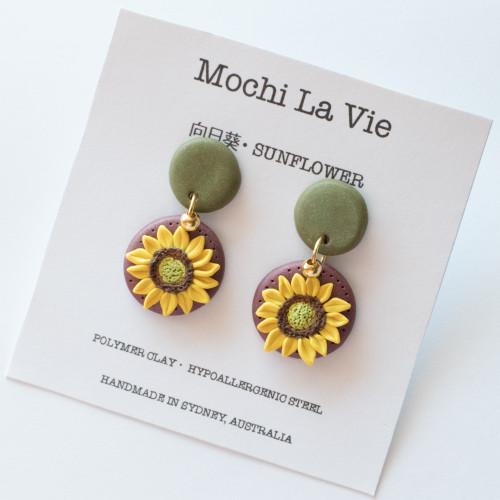Sunflower HIMAWARI Polymer Clay Stainless Steel Drop Earring - Handmade in Sydney Australia   Mochi La Vie