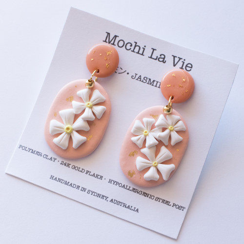 Jasmine 2.0 Polymer Clay Stainless Steel Drop Earring - Handmade in Sydney Australia   Mochi La Vie