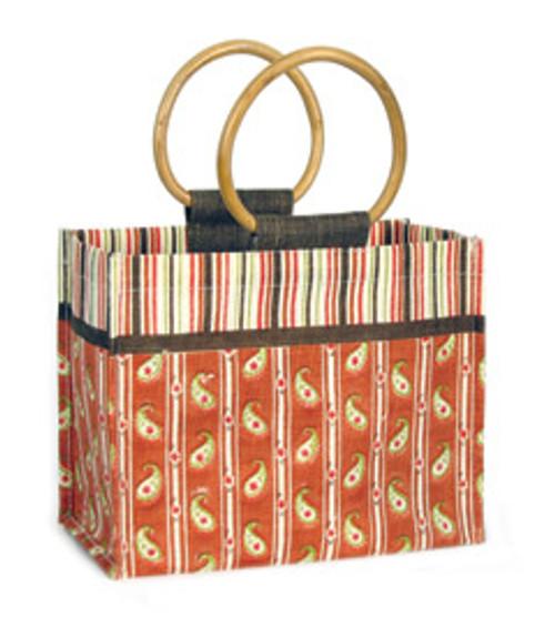 Paisley Jute Tote Bag