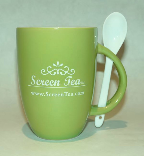 Green Ceramic Cup with Spoon