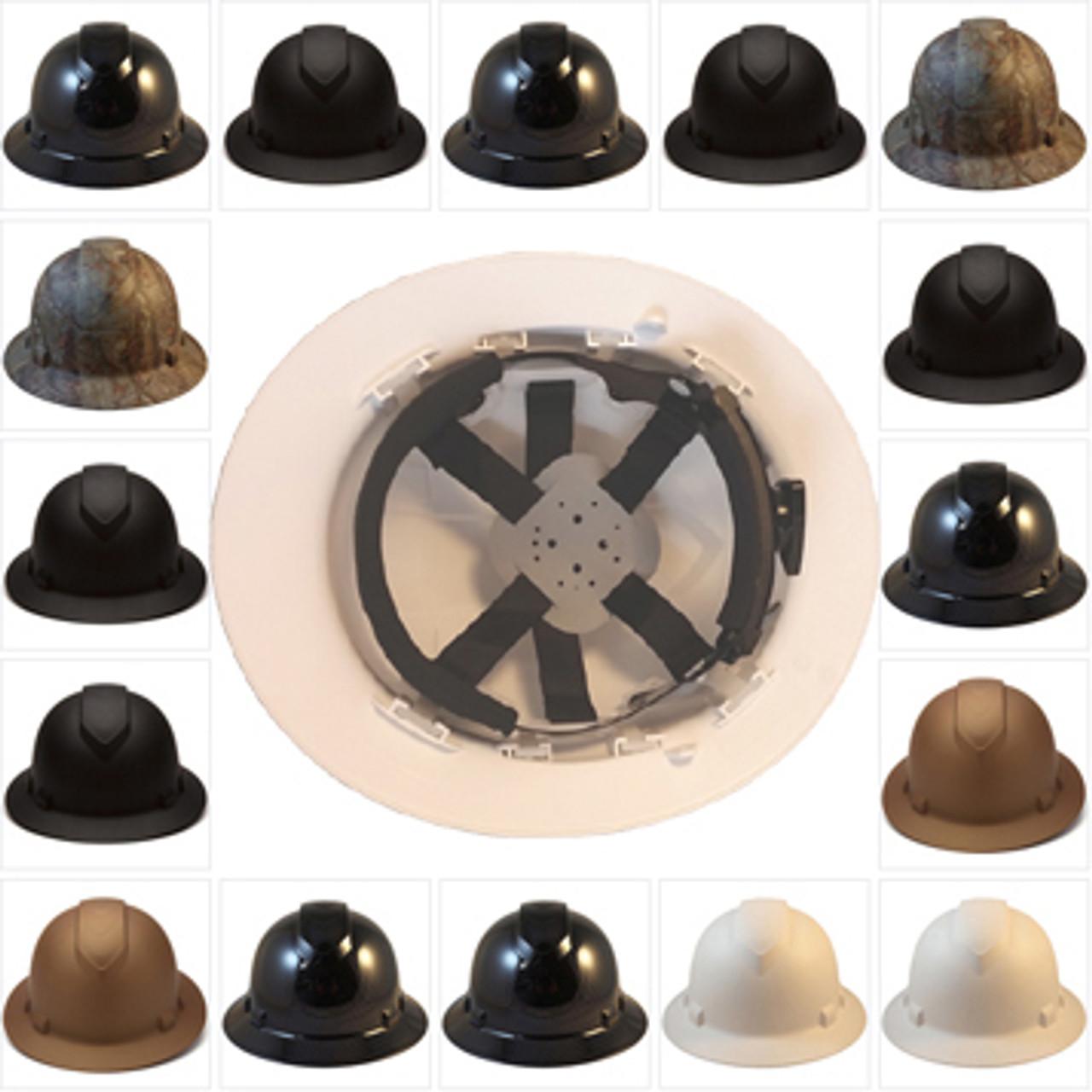 Pyramex RIDGELINE Full Brim Safety Helmets - 6 Point Ratchet Liners - All  Patterns