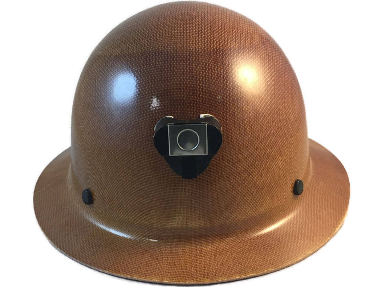 MSA # 460389 Skullgard Full Brim Hard Hat With STAZ ON Liners Natural Tan  With Light Clip