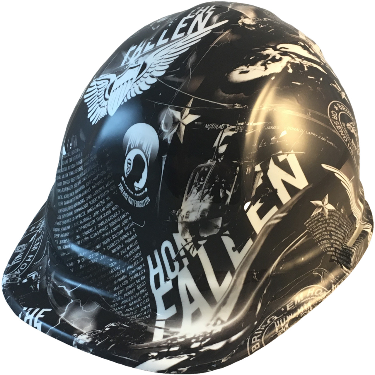 Hydrographic CAP STYLE Hard Hat-Ratchet Suspension - Honor The Fallen -  Oblique View b388fbae5df1