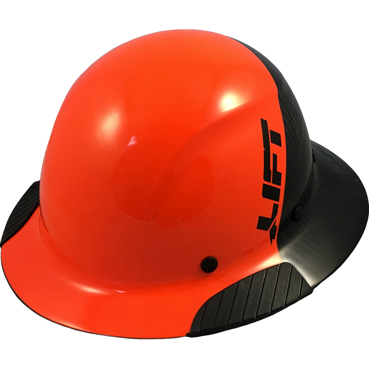 d4664003 DAX Actual Carbon Fiber Shell Full Brim Hard Hat - Glossy Black and High  Vision Orange