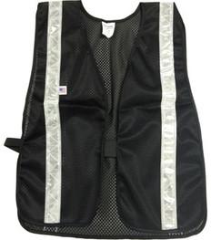 Soft Mesh Black Vests Silver Stripes