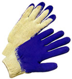 Cotton Knit Glove with Dipped Blue Rubber on one side (SOLD BY THE PAIR)