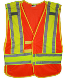 Orange Class II MESH First Responder Safety Vest Lime/Silver Stripes and 5 Point Tear-Away Size 4x