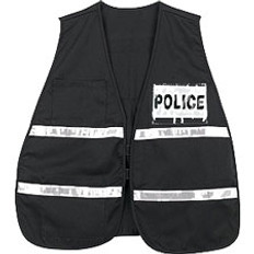Incident Command Safety Vests, BLACK with Silver Stripes and Clear Pocket Front and Back
