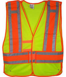 Lime Class II MESH First Responder Safety Vest Orange/Silver Stripes and 5 Point Tear-Away Standard