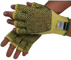 Unlined 100% Kevlar® String Knit Gloves Fingerless with Dots Both Sides (Dz)