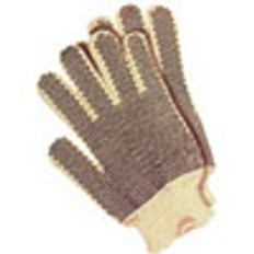 Cotton String Knit Gloves with Dots on One Side (sold by the dozen)