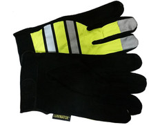 Hi-Vis Split Deerskin Multi-task Glove w/ Velcro Closure, Lime (PAIR)