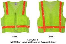 MESH Surveyors Vest Lime w/ Orange Stripes