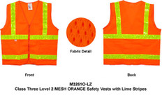 Double Stripe Design ANSI 2010 Sleeveless Class 2, MESH ORANGE Safety Vests - Lime stripes