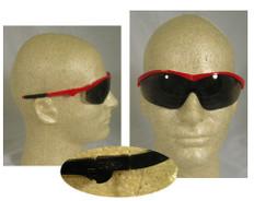 MCR Crews #ST132 Storm Safety Eyewear Red Frame w/ Smoke Lens
