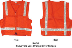 Surveyors Vest Orange Silver Stripes