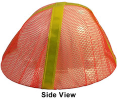 Occunomix V896-FBO Safety Helmet Mesh Hi Viz Full Brim Cover (Orange with Lime Stripes)