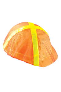 Occunomix V896-RO Safety Helmet Mesh Hi Viz Cap Style Cover (Orange with Lime Stripes)