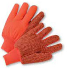 Polychord Glove with Black Dots on One Side - Orange- (Sold by the Dozen)