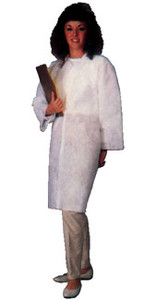 PE Coated Polypropylene Lab Coat 1.25 Oz- 2 Pocket (30 Per Case)